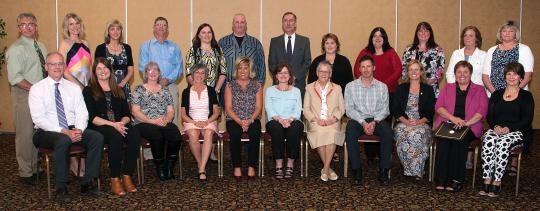 CCRSB 25-Year Service Award winners gather at a ceremony in Truro on May 23, 2017.